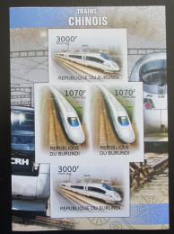 Poštovní známky Burundi 2012 Èínské lokomotivy neperf. Mi# 2450,2452 B