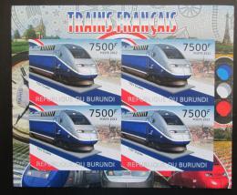 Poštovní známky Burundi 2012 Francouzské lokomotivy neperf. Mi# Block 221 B