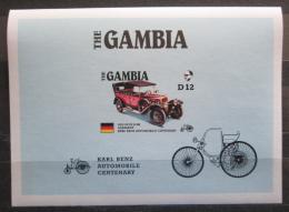 Poštovní známka Gambie 1986 Mercedes Benz neperf., vzácná Mi# Block 24 B