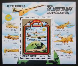 Poštovní známka KLDR 1980 Letadla Mi# Block 85 Kat 10€