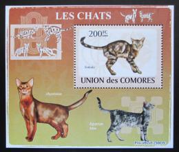 Poštovní známka Komory 2009 Koèky DELUXE Mi# 2205 Block