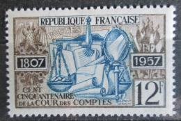 Poštovní známka Francie 1957 Nejvyšší kontrolní úřad, 150. výročí Mi# 1135 - zvětšit obrázek