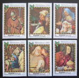 Poštovní známky Manáma 1969 Umìní, vánoce Mi# 217-22