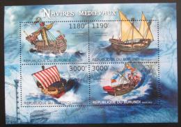 Poštovní známky Burundi 2012 Støedovìké plachetnice Mi# 2858-61 Kat 10€