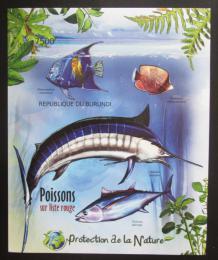 Poštovní známka Burundi 2012 Ryby neperf. Mi# Block 233 B