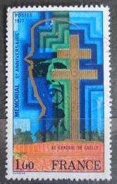 Poštovní známka Francie 1977 Památník generálu de Gaulle Mi# 2036