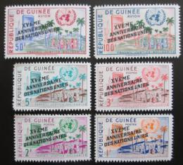 Poštovní známky Guinea 1960 Vstup do OSN, 1. výroèí pøetisk Mi# 56-59,65-66
