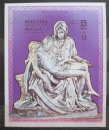 Poštovní známka Manáma 1970 Sousoší, Michelangelo neperf. Mi# Block 61 B Kat 20€
