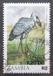 Poštovní známka Zambie 1989 Èlunozobec africký pøetisk Mi# 489 Kat 4.50€