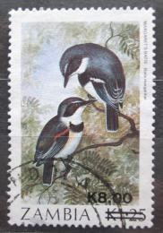 Poštovní známka Zambie 1989 Lesknáèek hvízdavý pøetisk Mi# 484