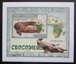 Poštovní známka Mosambik 2007 Krokodýli DELUXE neperf. Mi# 2989 B Block