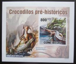 Poštovní známka Guinea-Bissau 2010 Prehistoriètí krokodýli DELUXE Mi# 5210 B Block