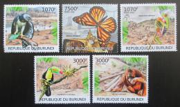 Poštovní známky Burundi 2012 Ohrožená zvíøata Mi# 2580-84 Kat 10€