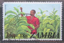 Poštovní známka Zambie 1979 Sbìr tabáku pøetisk Mi# 199