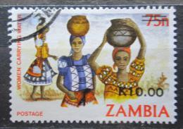 Poštovní známka Zambie 1989 Ženy nesoucí vodu pøetisk Mi# 495