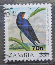 Poštovní známka Zambie 1989 Vlaštovka rezavobøichá pøetisk Mi# 482