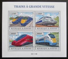 Poštovní známky Burundi 2013 Vysokorychlostní lokomotivy Mi# 3328-31 Kat 10€