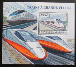 Poštovní známka Burundi 2013 Vysokorychlostní lokomotivy Mi# Block 390 Kat 9€