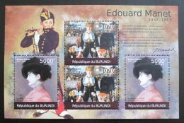 Poštovní známky Burundi 2012 Umìní, Edouard Manet DELUXE Mi# 2316,2318 Kat 10€