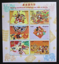 Poštovní známky Guyana 1997 Disney postavièky, Èínský nový rok Mi# 5827-32