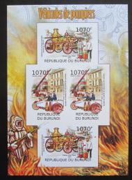 Poštovní známky Burundi 2012 Hasièi DELUXE neperf. Mi# 2421-22 B Bogen