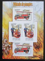 Poštovní známky Burundi 2012 Hasièi DELUXE neperf. Mi# 2423-24 B Bogen