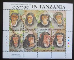 Poštovní známky Tanzánie 1992 Šimpanzi Mi# 1233-40 Bogen Kat 18€