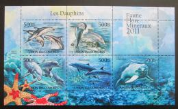 Poštovní známky Komory 2011 Delfíni Mi# 3068-72 Bogen Kat 12€