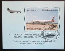 Poštovní známka Uzbekistán 1995 Letadlo Mi# Block 8