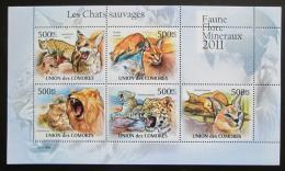 Poštovní známky Komory 2011 Koèkovité šelmy Mi# 3058-62 Bogen Kat 12€