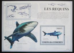 Poštovní známka Komory 2009 Žraloci Mi# Block 480 Kat 15€