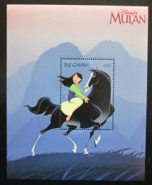 Poštovní známka Gambie 1998 Disney, Mulan Mi# Block 385 Kat 9€