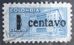 Poštovní známka Kolumbie 1951 Budova pošty v Bogotì, daòová, pøetisk Mi# 49 I