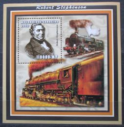Poštovní známka Mosambik 2002 Parní lokomotivy, Stephenson Mi# Block 152 Kat 14€