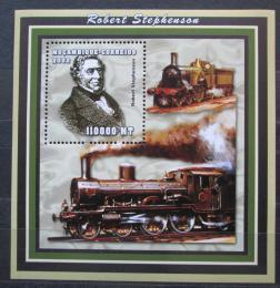 Poštovní známka Mosambik 2002 Parní lokomotivy, Stephenson Mi# Block 153 Kat 14€