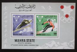 Poštovní známky Aden Mahra 1967 ZOH Grenoble Mi# Block 4 Kat 15€