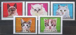 Poštovní známky Fudžajra 1970 Koèky Mi# 588-92
