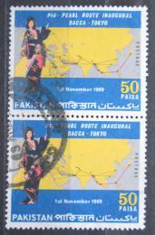 Poštovní známky Pákistán 1969 Japonská panenka a mapa pár Mi# 282