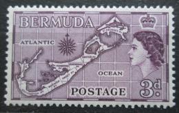 Poštovní známka Bermudy 1953 Mapa ostrova Mi# 135