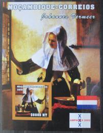 Poštovní známka Mosambik 2001 Umìní, Johannes Vermeer neperf. Mi# Block 100 B