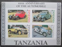 Poštovní známky Tanzánie 1986 Historické automobily neperf. Mi# Block 53 B