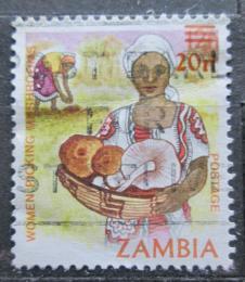Poštovní známka Zambie 1985 Žena s houbami pøetisk Mi# A 340