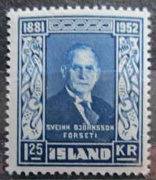 Poštovní známka Island 1952 Prezident Sveinn Björnsson Mi# 281