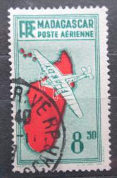 Poštovní známka Madagaskar 1935 Letadlo a mapa Mi# 223