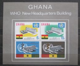 Poštovní známky Ghana 1966 Budovy WHO v Ženevì Mi# Block 20 Kat 30€