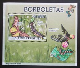 Poštovní známka Svatý Tomáš 2009 Motýli DELUXE Mi# 3853 Block