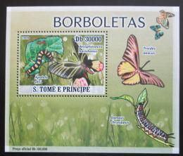 Poštovní známka Svatý Tomáš 2009 Motýli DELUXE Mi# 3854 Block