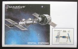 Poštovní známka Somálsko 2002 Vesmírné stanice Mi# Block 92 Kat 14€