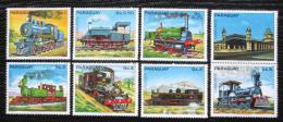Poštovní známky Paraguay 1983 Lokomotivy s kupónem 3 Mi# 3579-85