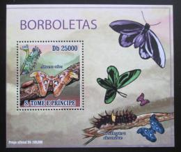 Poštovní známka Svatý Tomáš 2009 Motýli DELUXE Mi# 4108 Block